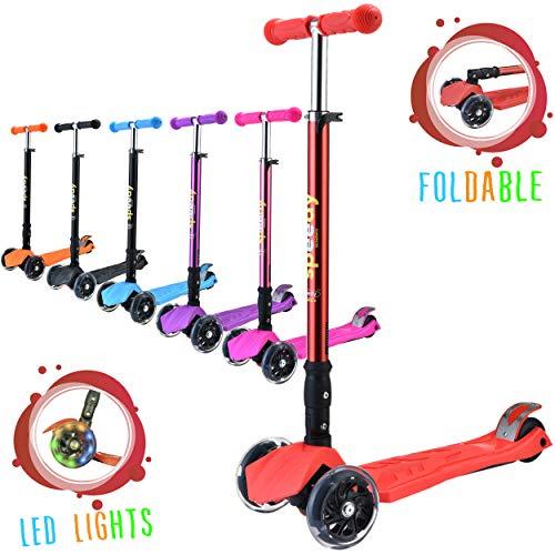 Speedy Scooters Doblo LED Patinete de 3 Ruedas Luminosas LED - Plegable, Manillar Altura Ajustable y Freno Posterior para Niños, Inclinable Fácil de Girar (Rojo)