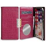 iPhone 12 mini ケース 手帳型 大人 かわいい フレーム付 ワニ柄 キラキラ マグネットなし ベルトなし カバー (フューシャ) apple