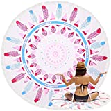 TOORY mural Toalla de Playa de Ocio de Microfibra de 155 cm de diámetro Borla de Moda Toalla de Playa de Secado rápido Toalla de baño súper absorbente-05_ronda155cm