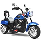 COSTWAY Kids Electric Motorcycle, 6V Battery Powered Motorbike with Horn, Headlight, Forward/Reverse Switch, 3 Wheel Ride on Toy Car Trike for Boys Girls (Blue)
