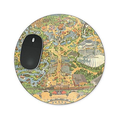 Disneyland Vintage Map Mousepad - Neopreen voor optische en lasermuis - rechthoek rond hart gevormd Round Mousepad Geel