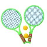 Bambini 2 Pezzi di Racchette da Tennis + 2 Pezzi di Palline di Plastica Set di Badminton All'aperto...