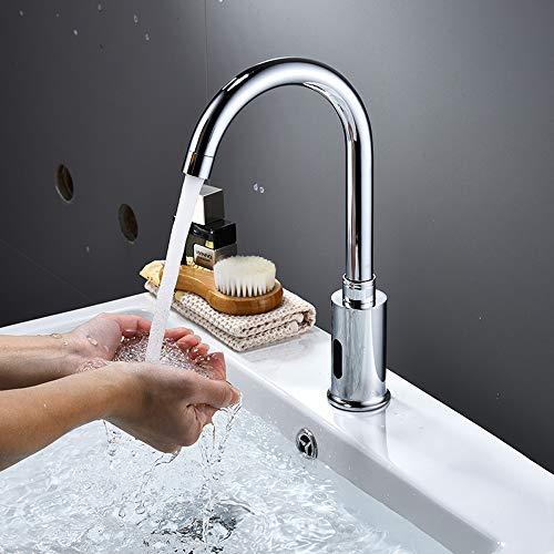 ENCOFT Grifo de Agua Automático con Sensor de Infrarrojos, Sin-contacto Grifo Batería Agua Fría para Lavabo Baño Grifo Touchless (Curvo)