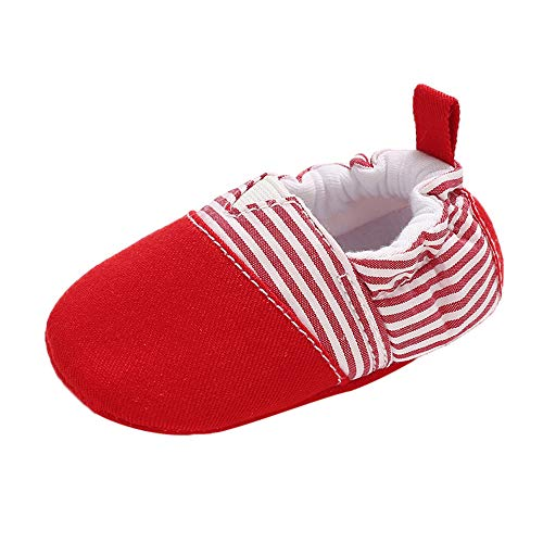 NUWFOR Baby Girl Soft Booties Snow Floor Shoes Stripe Splicing Prewalker Warm Shoes(Red,6~12 Month)