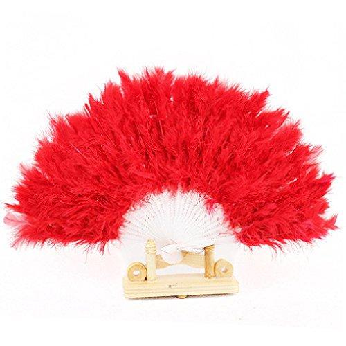 Ouneed Eventail di Piuma Costume Costume Accessori, Rosso, 40 * 40cm,
