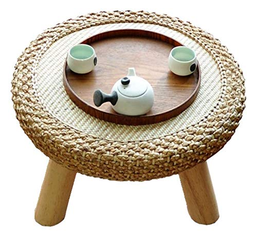 WANGQW Mesa de Ceremonia de té de Mesa de té de Mesa Baja, Zen Sofá Mesa de café Escritorio con Estilo Tatami Té Ratán Hierba Ventana Estilo japonés Personalidad Art Art Nordic Wood Balcony Café