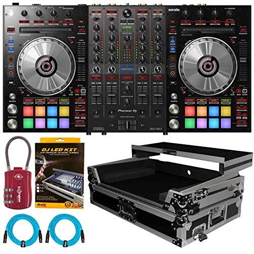 Pioneer DDJ-SX3 DDJSX3 Serato Pro DJ Controller Mixer w Silver Case, LED Strip