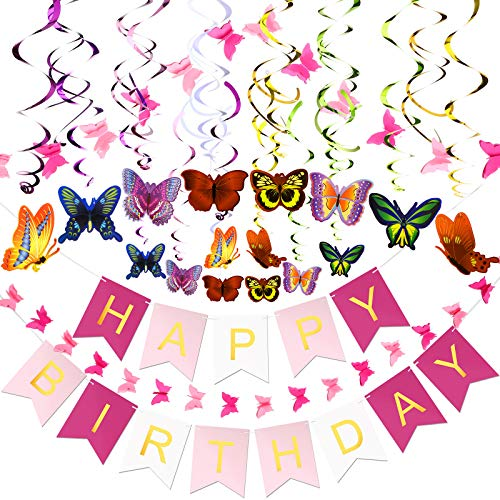 79 Pieces Butterfly Birthday Party Decorations Include Butterfly Hanging Swirls Paper Butterfly Garlands Happy Birthday Banner Backdrop for Home Classroom Birthday Garden Spring Themed Party Supplies