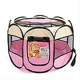 FTFDTMY Laufstall Cat Zelt Polygonal Haustier-Zelt beweglicher Hund Katze Kreißsaal Retro Breatable Visible Zaun for kleine und mittlere Hundehütte im Freien Hund Cage 72x72x45cm blau