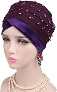 Xiang Ru Soft Beading India Chemo Cap Beanie Turban Headwear Muslim Headscarf for Women