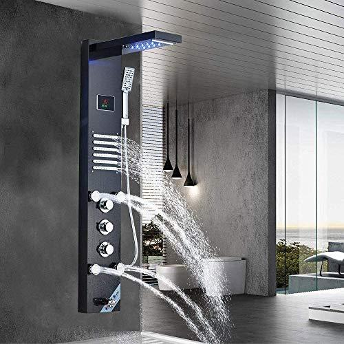 Panel de ducha LED Columna Torre de acero inoxidable Sistema de ducha con cabezal de ducha cuadrado de lluvia lluvia potente alta presión superior grifo de baño sistema aceite frotado bronce