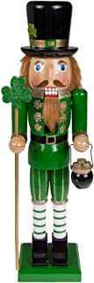 Clever Creations Traditional Irish Wooden Nutcracker Decoration Green, Black, Leprechaun with Pot of Gold & Scepter | Premium Festive Christmas Decor | 15