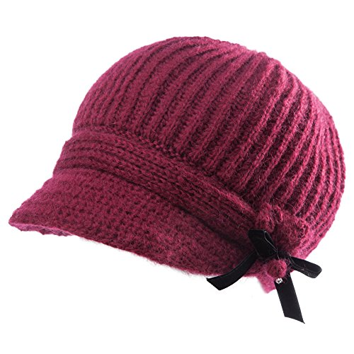 SIGGI Wool Knitted Visor Beanie with Brim Cold Weather Winter Hat for Women Newsboy Cap Red