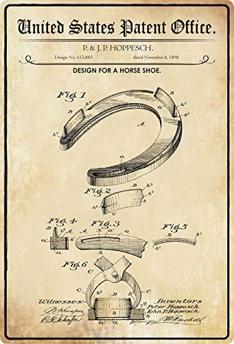 Metalen bord 20x30cm patent ontwerp hoefijzer 1898 paard bord gebogen