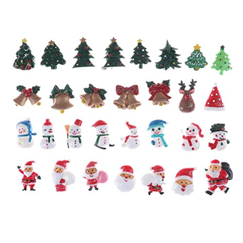 CCCYMM 30 Pcs Christmas Resin Charm Embellishments Miniature Ornaments for DIY Decoration Random Style. Type A