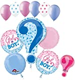 11 pc Baby Gender Reveal Boy or Girl Balloon Bouquet Party Shower Game He She Question Mark