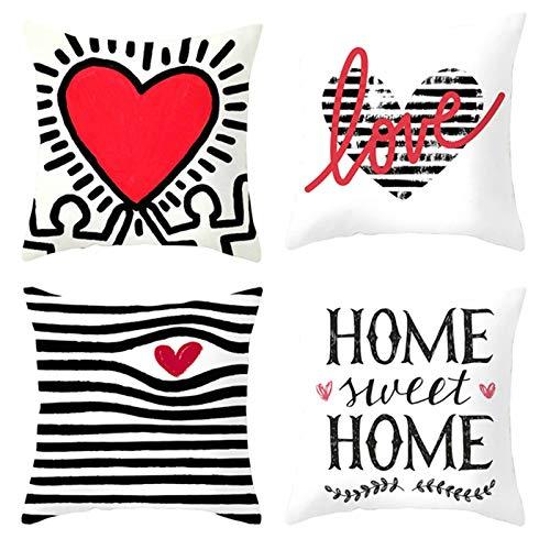 Aeici Set 4 Federe Cuscini Federa Cuscini Divano, Fodere Decorative Cuscini 40x40cm Federa per Cuscino Love Home Sweet Home Strisce Cuore Set 5