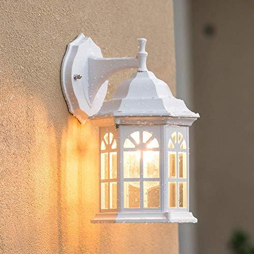 GYPPG Linterna de luz de Pared para Exteriores Tradicional, rústica, Blanca, clásica, Impermeable, Simple, para terraza, Valla, para Villa, Aplique de Pared, lámpara, Accesorio de iluminación para