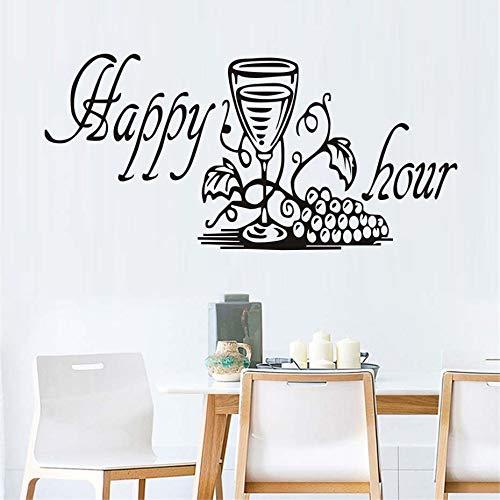 JXMK Grappige keukenmeubelsticker, Happy Hour druif wijnglas sticker eetkamer keuken decoratieve muursticker   Muursticker 90cm x 43cm