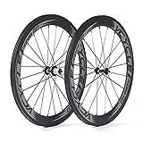 VCYCLE Nopea 700c Copertoncino 60mm Fibra di Carbonio Bici da Strada Ruote Ultraleggero 1595g Shimano o Sram 8/9/10/11 Velocità