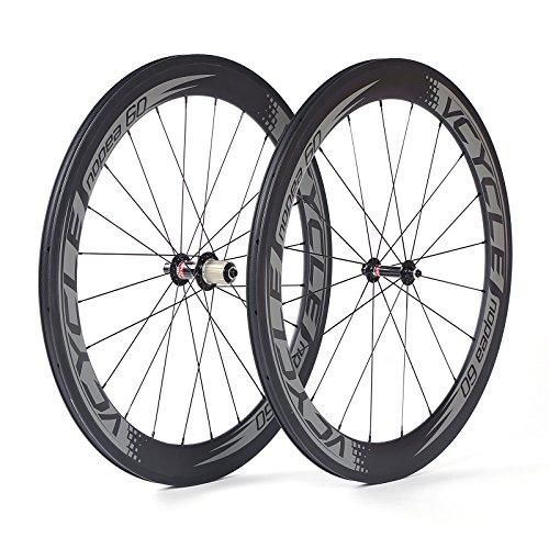 VCYCLE Nopea 700C Carbono Carretera Bicicleta Rueda Remachador 60mm S?o 1595g Para Shimano o Sram 8/9/10/11 Velocidad
