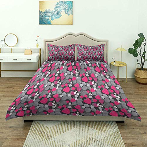 Duvet Cover,Strawberries Flowers and Leaves Icons Fruity Floral Repetition, Bedding Set Comfy Lightweight Microfiber