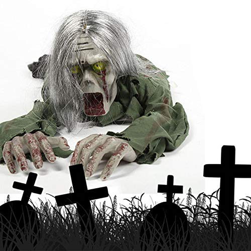 Heoolstranger Crawling Zombie Props With Long Hair Voice Activated Electric Crawling Zombie, Scary Haunted House Props Halloween Thriller Toys