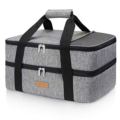 """LUNCIA Double Decker Insulated Casserole Carrier for Hot or Cold Food, Lasagna Holder Tote for Potluck Parties/Picnic/Cookouts, Fits 9""""x13"""" Baking Dish, Grey"""
