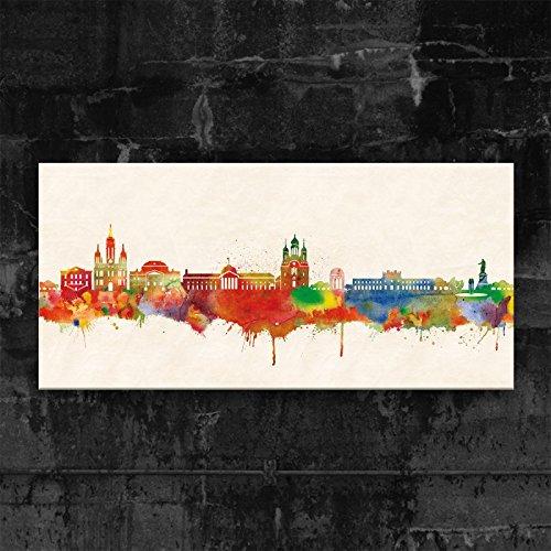 Kunstbruder Wiesbaden Skyline - Farbe (div. Grössen) - Kunst Druck auf Leinwand 60x120cm