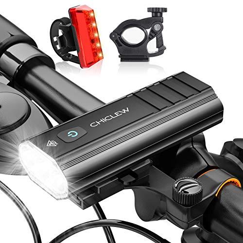 CHICLEW Luci Bicicletta LED Ricaricabili, 5200mAh Luci Bici USB Anteriore e Posteriore, Faro Bici IP65 Impermeabili con 5 modalità, Fanali Bici per Autisti notturni Ciclismo e Campeggio con 2 Staffe