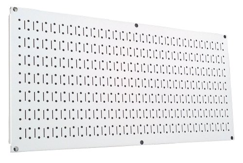 Wall Control Pegboard 16in x 32in Horizontal White Metal Pegboard Tool Board Panel