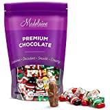 Madelaine Premium Milk Chocolate Mini Santas (1 LB) Novelty Christmas Party Favors - Candy Stocking Stuffers - Holiday Treats - Individually Wrapped In Italian Foils (One Pound) (1 LB)