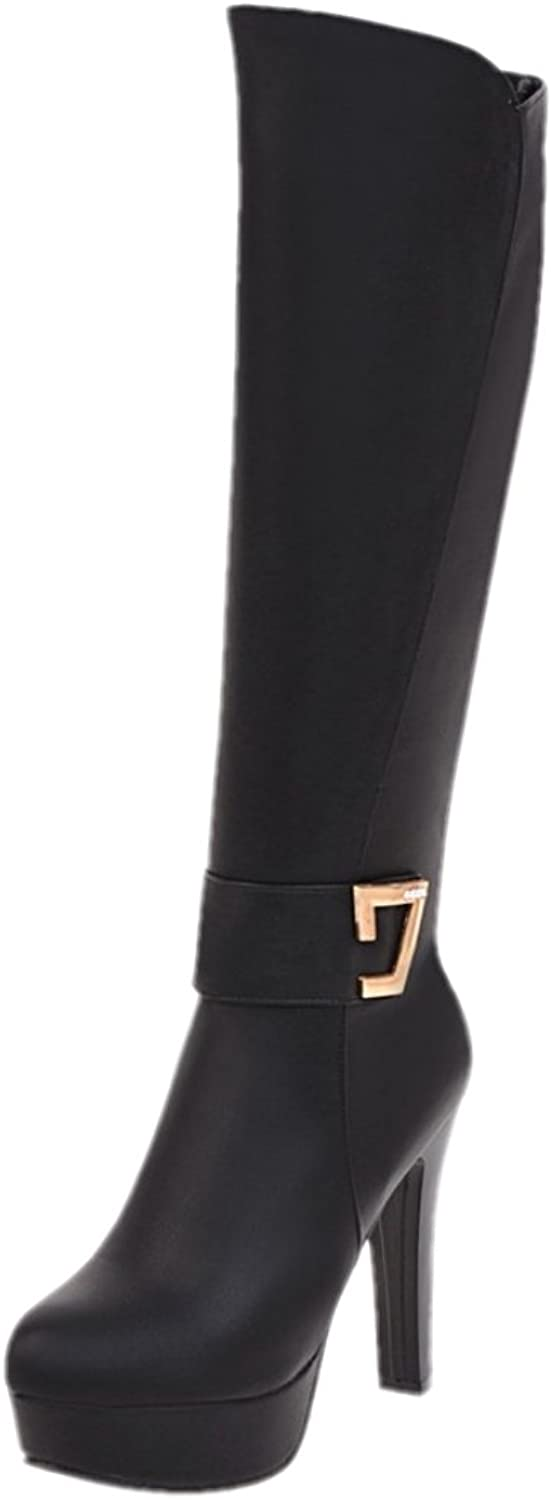 Rongzhi Womens Knee High Boots Platform Thick Heels Pumps Dress Party Boots Round Toe Zipper