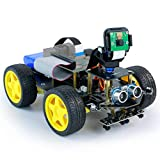 Yahboom Raspberry Pi Smart Robot Car AI Starter Kit with FPV Camera WiFi Video Python Program Learning Face Tracking, Gesture Recognition & Control, Line Tracking,Color Recognition Follow