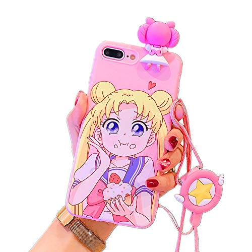 for iPhone 7 Plus 8 Plus Case Cover, Japan Anime Sailor Moon Case with Lanyard Strap Silicone Soft Phone Case Back Cover for iPhone 11 Pro Max Xs Max XR 6S 7 8 Plus (Eating, for iPhone 7 Plus/8 Plus)