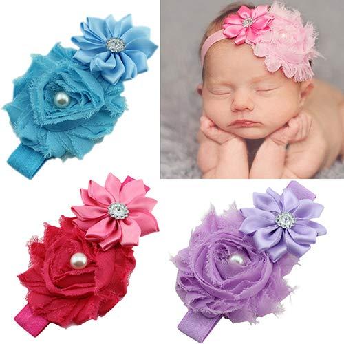 Lai-LYQ haarband voor kinderen, faux parel strass stretchy Cloth Ribbon Flower hoofdband haarband voor kinderdouche, verjaardagsfeest en familiefoto rekwisieten