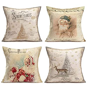 Hopyeer Xmas Santa Claus Decorative Throw Pillow Covers Vintage Classical Winter Holiday Merry Christmas Snowflake Postcards Elk Trees Cotton Linen Cushion Case Cover for Sofa 4Psc 18 x18   XS-Santa