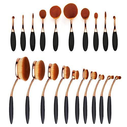 Wss - Cepillo de Dientes Forma Ovalado Brocha para Maquillaje Base Polvo Ceja Maquillaje Brochas Utensilios de Belleza Oro 10pcs / Set + Estuche Caja