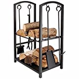 Homezone® Indoor/Outdoor Firewood Log Rack for Fireplace Heavy Duty Wood Stacking Holder for Patio Deck Metal Log Storage Stand Wood Pile Racks Outside Firepit with Tools Accessories