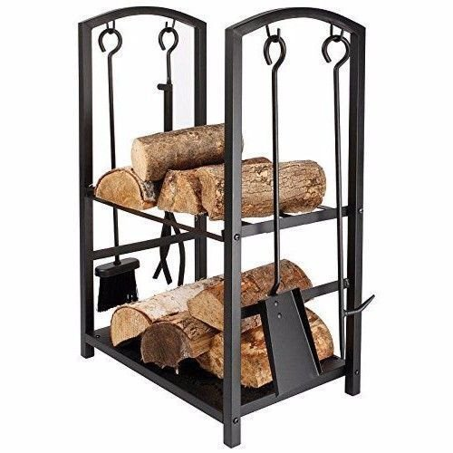 Homezone Indoor/Outdoor Firewood Log Rack for Fireplace Heavy Duty Wood Stacking Holder for Patio Deck Metal Log Storage Stand Wood Pile Racks Outside Firepit with Tools Accessories