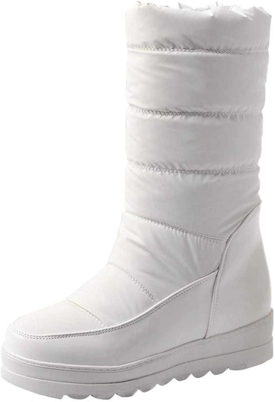 Anxinke Women Girls Winter Outdoor Casual Warm Slip-On Platform Snow Boots