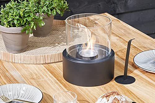 LIFA LIVING Kleiner Bio Ethanol Tischkamin aus Metall und Glas, Tragbares Tischfeuer für Indoor und Outdoor, Runder Bioethanol Kamin in schwarz, 15 x 18 cm
