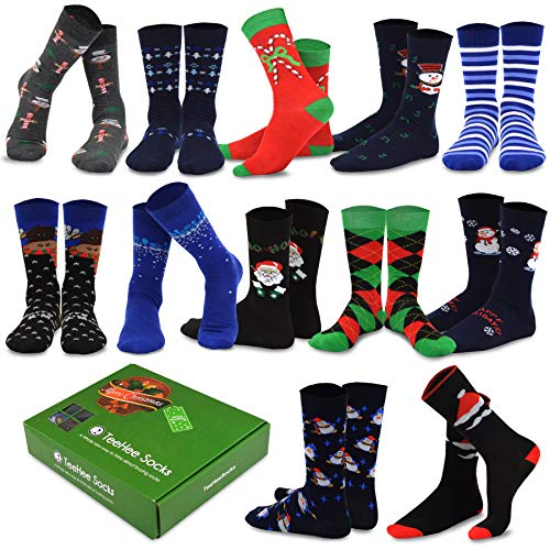 TeeHee Christmas Holiday 12-Pack Gift Socks for Men with Gift Box (Holiday-B)