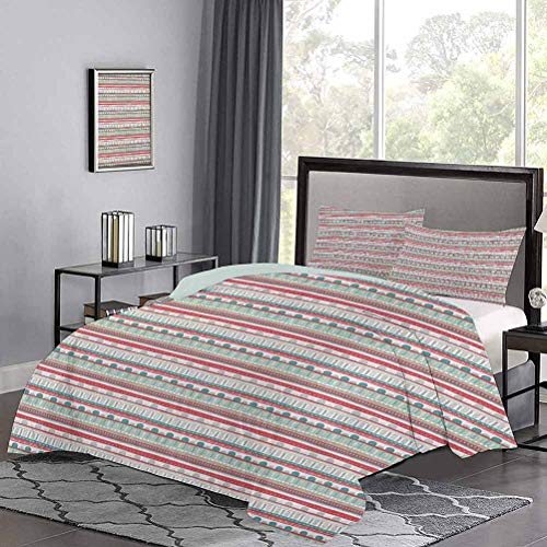 Three-Piece Bed Duvet Cover Timeless Primitive Cultures Inspirations Traditional Zigzags Spirals and Curves Print Comfy Bedding Soft Touched but Strength and Durable Multicolor, Twin Size
