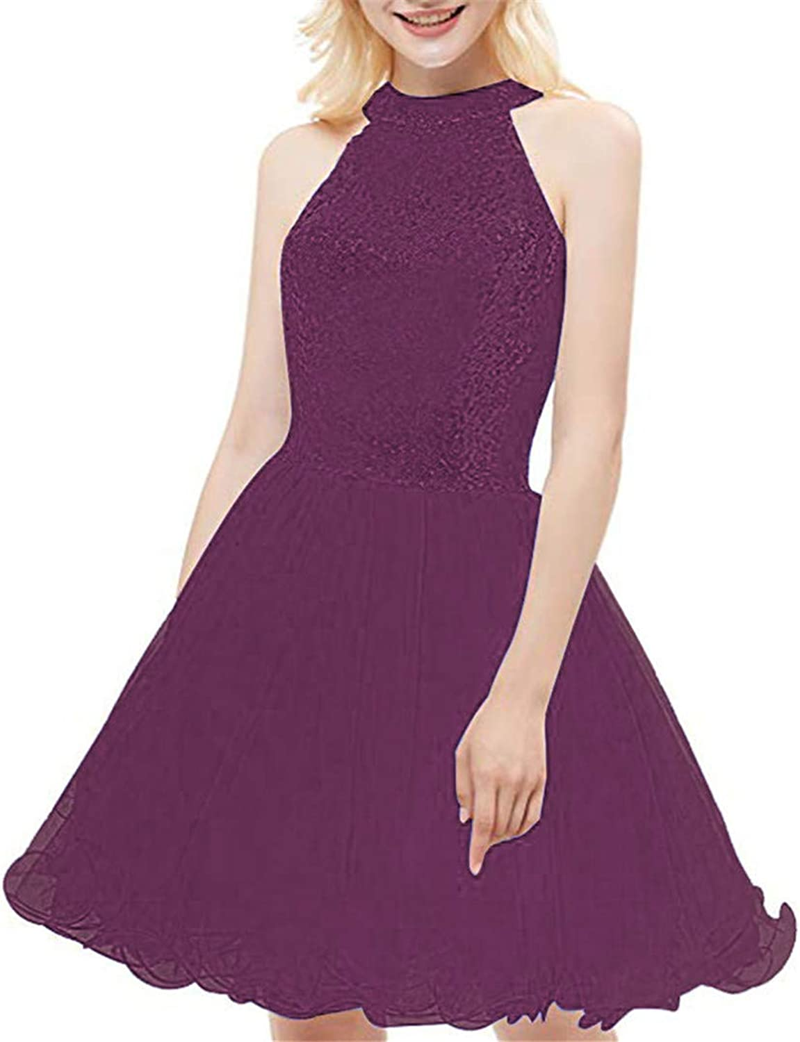 Women's Halter Homecoming Dresses Sequined Short ALine Prom Evening Gowns Tulle
