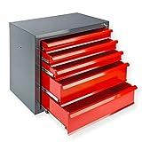 DeTec Metall Schubladenschrank #Fernando# mit 5 Schubladen/Unterschrank/Stahlmagazin, 70x43.5x60 cm, rot, Werkzeugschrank/Schubladencontainer für Büro, Garage und Werkstatt