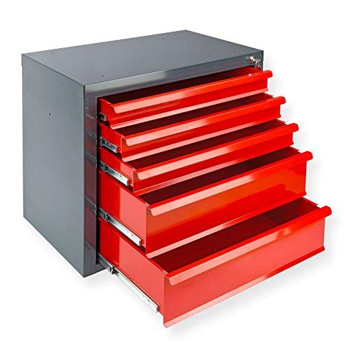 DeTec Metall Schubladenschrank #Fernando# mit 5 Schubladen/Unterschrank/Stahlmagazin, 70x43.5x60 cm,...