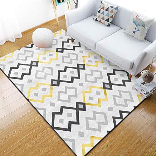 WQ-BBB Interiores La Alfombrers Higroscópico Diseño Simple a Cuadros Negro Gris Dorado Decoracion habitacion Bebe 200X300cm