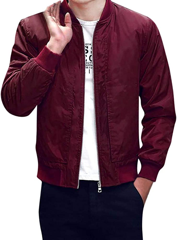 OMINA Bomber Jacket Men Maroon Coats, Winter Outwear Slim Fit Mens Long Sleeves Jacket with Pockets Casual Fashion Tops