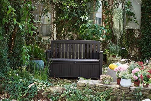 Koll Living Gartenbank Patio Braun - 227 Liter Stauraum - ca. 272 kg belastbar - mit Verschlussmöglichkeit - der Blickfang im Garten - 7